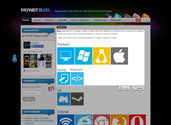 Snímka zvolenej časti obrazovky