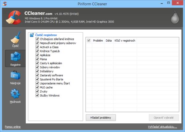CCleaner registre