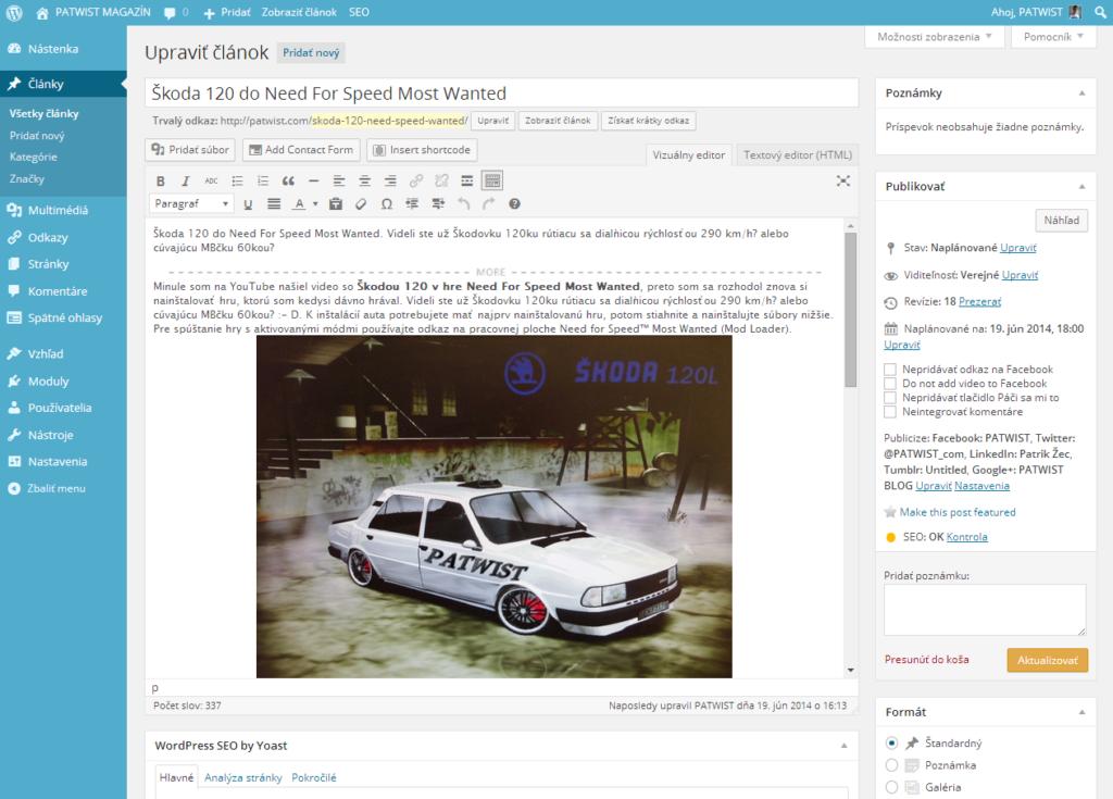 Ako naplánovať publikovanie článku – WordPress