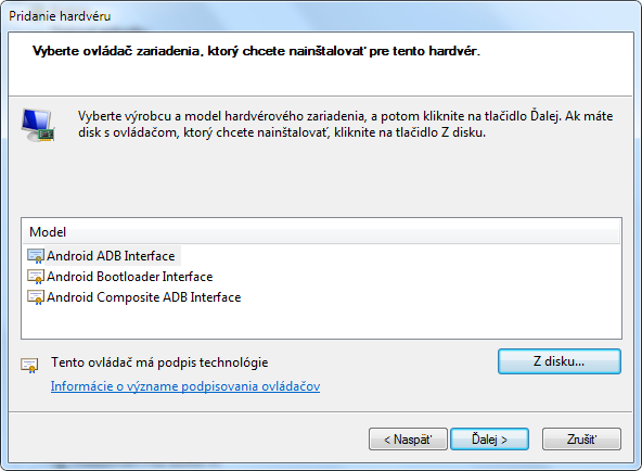 Installing drivers Android ADB Interface, Android Bootloader Interface,